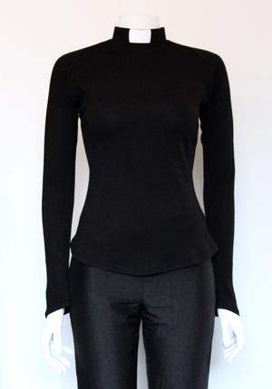 RUT-TOP, black,  wool jersey, slim sleeve