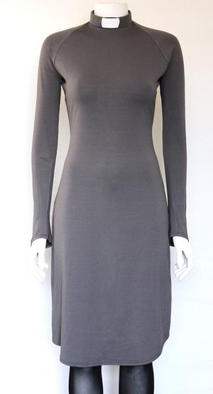 RUT-dress medium grey, slim sleeve