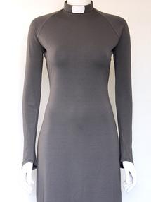 HULDA- klänning mellangrå, smal ärm